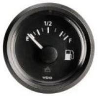 VDO Fuel Gauge 10/180 ohm (Black Dial) 12 Volt