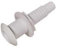 Skin Fitting 1'' BSP White Nylon 25 or 19mm Hose Tail