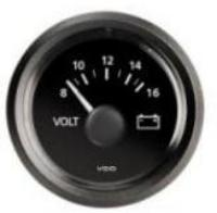 VDO Gauge Voltmeter 8 to 16 Volt 52mm Dia