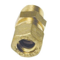 10mm Pipe Compression Joint Straight to Male 3/8'' BSP, Brass