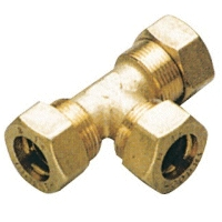 10mm Pipe Compression Tee Joint, Brass