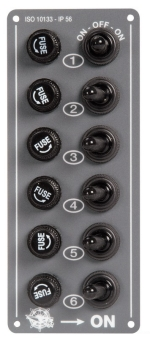 Boat Control Panel 6 Switches 6 Fuses Grey Aluminium