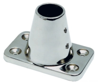 Stanchion HD Socket Deck Angle 7 Deg 316 Stainless Steel