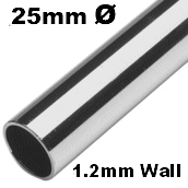 1 Metre Length - 25mm Tube (1.2 Wall) 316 Stainless Steel.
