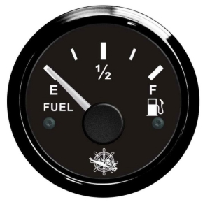 Fuel Level Gauge 240/33 ohm 12 Volt. Black Bezel