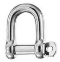 Dee Shackle 10mm 64mm Long 316 Polished Stainless Steel