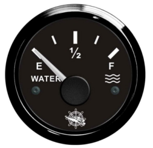 Water Level Gauge 240/33 ohm 12 Volt. Black Bezel