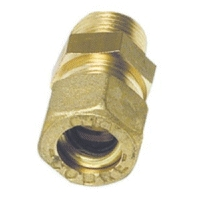 10mm Pipe Compression Joint Straight to Male 1/4'' BSP, Brass