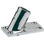 Boat Handrail 25mm 60 Deg Slope Rectangular Base Polished Stainless Steel