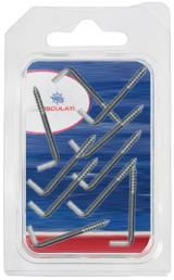 Screw L Hooks Stainless Steel 3.0mm x 32mm Pack of 10