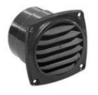 Vent with Flange Black Plastic 70mm Dia O/A Size 85 x 85mm
