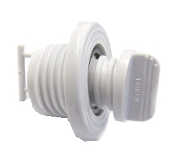 Hull Drain and Plug with Retaining Tag White Nylon